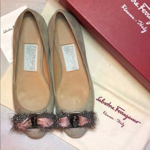 New Salvatore Ferragamo Suede Authentic Flat Shoes